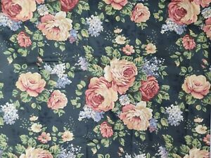 Vintage Springs Black Floral Twin Flat Sheet Pink Green Cotton Blend 65x96 USA