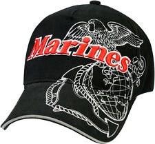 Black Deluxe US Marines Globe & Anchor Insignia Cap