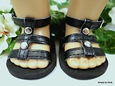 """BLACK w/ Silver Studs DOLL SANDALS SHOES fits 18"""" AMERICAN GIRL Doll Clothes C/Z"""