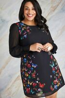 Black Yumi Curves Butterfly And Floral Print Tunic Dress