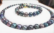 Set10-11mm natural south sea genuine black multic pearl necklace pendant earring