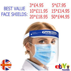 FACE SHIELD SAFETY VISOR CLEAR PLASTIC PPE FULL PROTECTION