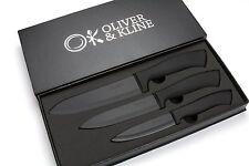 Ceramic Knife Set 3PC Luxurious Kitchen Cutting Knives Bread Meat Fruit Black