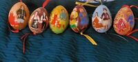Hand Painted Lacquered Eggs (Possibly Russian) Set of 6