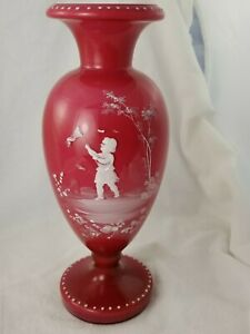 Antique Mary Gregory Victorian Bohemian Hand Painted Red Glass Vase Urn VG!