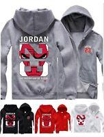 Mens Hoodie Michael Jordan Chicago Bulls Hooded Jacket ZipUp Men Sweatshirt Coat