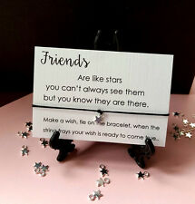 Gift Tag Wish String Charm Bracelet 'Friends are like Stars' Friendship Star #33