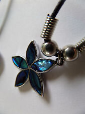 FLOWER TURQUOISE BLUE PAUA SHELL PENDANT UNISEX  CORD NECKLACE new gift pouch