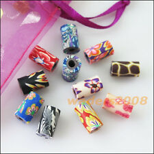 25 New Charms Handmade Polymer Fimo Clay Tube Spacer Beads Mixed 6.5x11mm