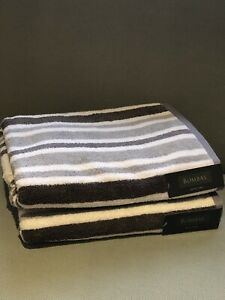 New Bombay Bath Towels, 2PC, Gray, white Stripes,100% cotton, Made In India