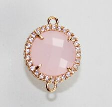 For Sale Charming Rose Quartz & Cz Gold Plated Connector Making Jewelry D-1697