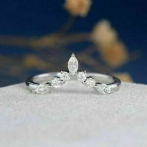 1/2ct Marquise&Round Diamond 14K White Gold Over Crown Chevron Wedding Band Ring