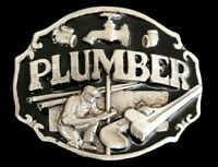 PLUMBER PIPE WRENCH PIPES BORDER TOOLS OCCUPATIONAL BELT BUCKLE