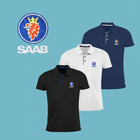 SAAB Slim Fit Polo T Shirt EMBROIDERED Auto Car Logo Tee Mens Clothing Gift