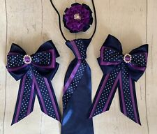 childs equestrian showing set - show tie bows NAVY Spot And Purple Lead Rein