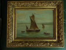Tableau ancien  Marine  Voiliers et Barque    MA Lévêque   1901