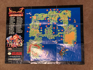 Breath of Fire Super Nintendo SNES Foldable Poster World Map Insert ONLY