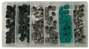 120 Piece Tire Valve Stem Cap Assortment Kit W/ TPMS Nitrogen Chrome & Standard