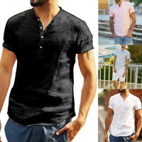 Men's V Neck Short Sleeve T-Shirt Slim Fit Casual Solid Color Basic Tee Shirts