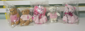 BREAST CANCER TEDDY BEARS AVON BREAST CANCER CRUSADE KITTY AND PUPPY 5 TOYS!