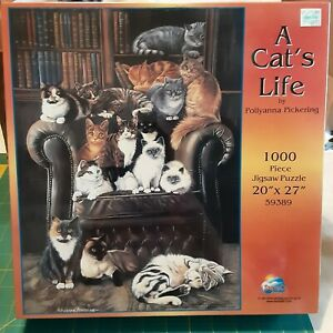 """New SunsOut A Cat's Life 1000 Pc. Puzzle by Pollyanna Pickering 20"""" x 27"""" #59389"""