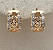 18K Gold Filled Earrings Sweet Heart to Heart Hollow Topaz Zircon Wedding BR