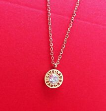 Rose Gold Stainless Steel LOVE LIVE LAUGH Pendant Chain Necklace Gift Box PE6