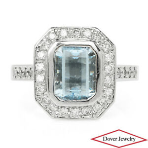 Estate Aquamarine Diamond 14K Gold Cluster Ring 6.9 Grams NR