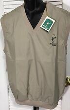 Slazenger Golf Vest Men's M Khaki Polyester V-Neck Lined Bellsouth Classic NWT
