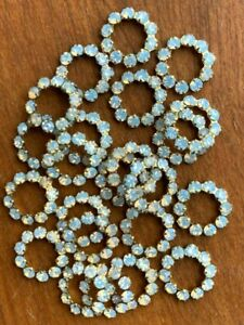 T012 - 80 Set w/Swarovski Rhinestones 11mm Brass Rings - Brilliant White Opal