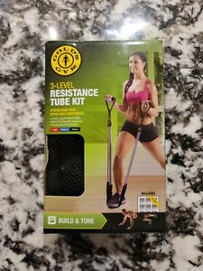 """Gold's Gym Resistance Tube Kit 3 Levels 46"""" Tubes With Mesh Bag New In Box"""
