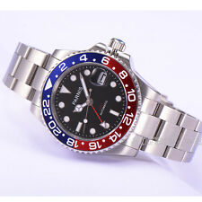 Parnis GMT Sapphire Automatic Men's Watch Stainless Steel Strap Blue Red Bezel