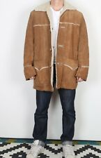 """Suede sherpa Fleece lined Coat Jacket Large XL 44"""" Brown 70's Vintage (JDG)"""