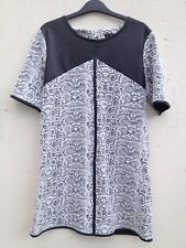 RIVER ISLAND BLACK WHITE LEATHER STRETCH TUNIC LONG TOP DRESS LOOSE 10 12 14
