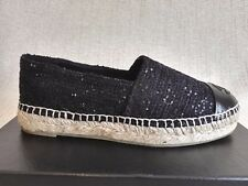 CHANEL ESPADRILLES 36 5 SEQUIN BLACK GLITTER TWEED 16S WOMAN FLATS SHOES  CC