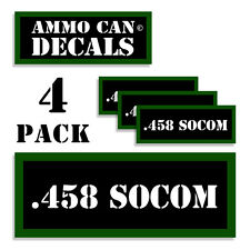".458 SOCOM Ammo Can 4x Labels Ammunition Case 3""x1.15"" stickers decals 4 pack"