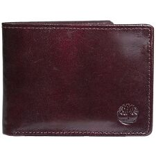 NEW TIMBERLAND MEN'S GENUINE LEATHER PASSCASE WALLET BLACK CHERRY D74387/27