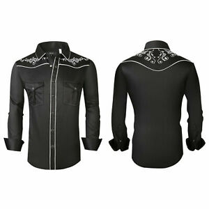 Mens Western Rodeo Cowboy Shirt Black White Embroidered Floral Pockets General 4