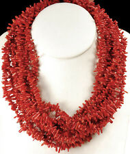 """Multi-Strands Red Coral Chips & Black Onyx Beads Silver Clasp Necklace 20"""""""