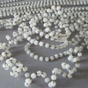 """Lot Antique Wired White OPALINE Beaded Trim 3/16"""" Beads 350"""" * AUSTRIA Old Stock"""