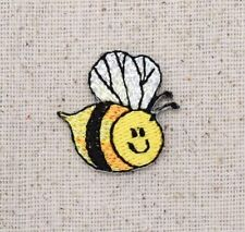 Iron On Embroidered Applique Patch - Mini Bumble Bee Smiling Face Yellow/Black