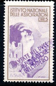 10/186.ITALY.WW II,FASCIST PERIOD,5 L.NATIONAL INSURANCE REVENUE,DUCE,EAGLE