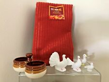 ~Vintage Bone China Hen Set, Russ-Duck, Condiment Holder +Towels!