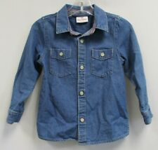 HANNA ANDERSSON Girls Medium Wash Long Sleeve Button front Denim Shirt Size 3/5