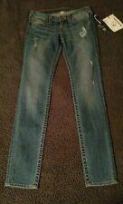 NWT True Religion Vintage Skinny Old Multi Bumm Wild & Free Blue Jeans Size 26