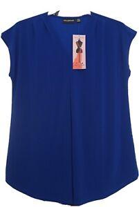 Nina Leonard Top Size Large Blue Sleeveless New Item