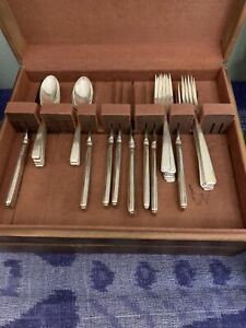 STERLING SILVER Towle FLATWARE In Wooden Box OLD LACE • 30 PIECES
