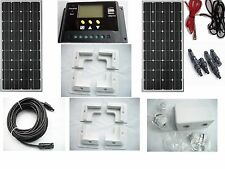 2 x 100W solar panel kit  for boat caravan motorhome corner brackets 12v