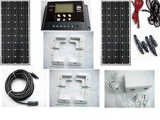 200W 2 x 100W solar panel kit  for boat caravan motorhome corner brackets 12v