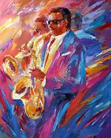 "Fine Oil painting impressionism male portraits Jazz musicians players canvas 36"""